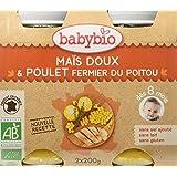 Babybio Pots Maïs Doux/Poulet Fermier du Poitou 400 g - Lot de 6
