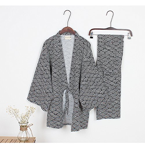 Männer Yukata Roben Kimono Robe Khan gedämpfte Kleidung Pyjamas schwarz01