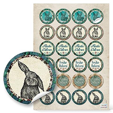 24 Stück runde Oster-Aufkleber Vintage Nostalgie look mit Frohes Fest und Osterhase in grün,braun, beige, rot - zum Papier-Tüten verschließen, Geschenke verzieren; 1a-Qualität