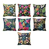 TYYC New Year Gifts for Home Decoration Colorful Flower Floral Pattern Printed Cushion Covers Set of 7 - 16x16 inches