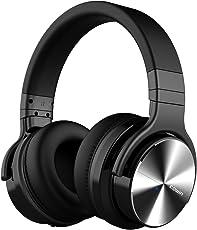 COWIN E7 PRO [2018 Aggiornato] Cuffie Active Noise Cancelling Bluetooth con Hi-Fi Bassi profondi - Cuffie Over-Ear Wireless con Microfono, Tempo di Riproduzione di 30 ore Playtime per Lavoro di viaggio TV computer telefono - Nero