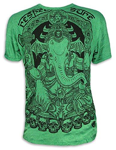 Sure Clothing Vignesha Talla M L XL Espíritu Natural Budismo Yoga Buda Hinduismo Namaste Dios Elefante Cráneo (L, Verde)