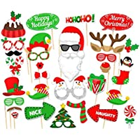 Veewon Christmas Party Photo Booth Props Photography Accessories Xmas Party Decoration, 32 Count