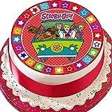 Cannellio Cakes Topper per Torta pretagliato commestibile glassa Grande-19,1cm Rotondo Scooby Doo e la Macchina del Tempo