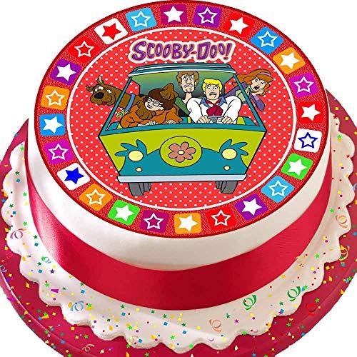 Cannellio Cakes vorgeschnittenen Essbarer Zuckerguss großen Kuchen Topper-19,1cm rund Scooby DOO und der Time Machine (Toppers Scooby Doo Cupcake)