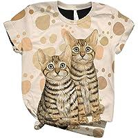 T-Shirt Donna Estivi Vintage 3D Stampa Animale T-Shirt Donna Maglietta Estivo Elegante O-Collo Manica Corta Casual T…