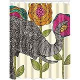 Etopfashion Cortina De Ducha 180 x 180 cm Textil Poliester Con 12 Anillas Paseo Elefante De Bangkok En Flores