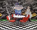 fws24 American Diner Essgruppe - Tisch mit 4 Stühlen - rot/weiß