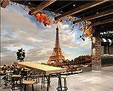 HHCYY 3DTapeten Frankreich Herbst Eiffelturm Paris Städte Foto Wohnzimmer Tv Sofa Wand Schlafzimmer Küche Ktv Bar Wandbild-200cmx140cm
