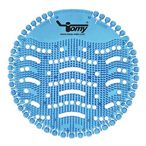 Tomy Urinalsieb mit Duft Baumwollblüte 2.0 Kalenderfunktion, Spritzschutz (2 Stück) - ideal für jedes Pissoir, Urinal in Gastronomie & Gewerbe, Geruch und Lufterfrischer - Blau Duft