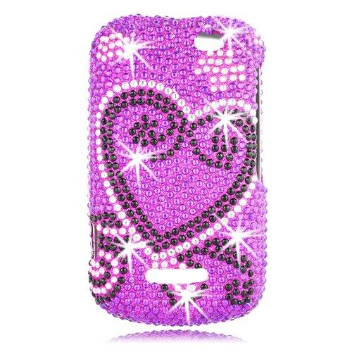 TALON Full Diamond Bling Phone Shell für Motorola i475-Boost Mobile-1Pack-Retail Verpackung-Lila Herz (Mobile Lila Telefone Boost)