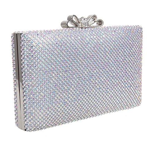 Bonjanvye Bow Purse for Women Rhinestone Crystal Evening Clutch Bags Blue AB Silver