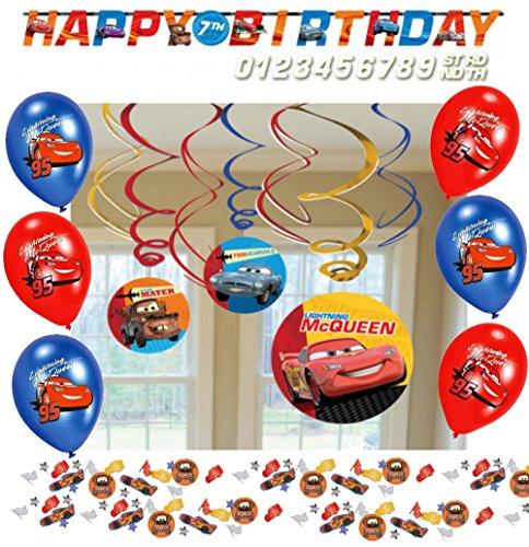 n Cars Happy Birthday Deko Partykette Girlande Banner Konfetti 'Cars' für jeden Alter (Cars Dekoration)