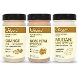 Origenz Premium Orange Peel, Rose Petals, Multani Mitti Powder 100gm Pack of 3