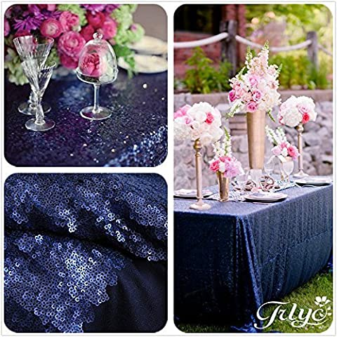 trlyc mantel de Tela de lentejuelas brillantes, 127 x 182,88 cm, para boda, colores disponibles, materiales sintéticos, matt navy, 50