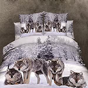 wolf animaux pattern3d parure de lit 100 coton housse de couette sets full queen king size 4. Black Bedroom Furniture Sets. Home Design Ideas
