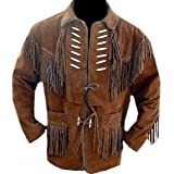 NM Fashions Men's Cowboy with Bones and Fringes Brown Suede Leather Jacket