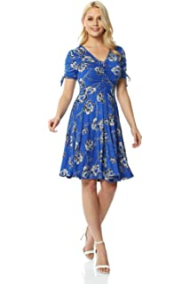 Roman Originals Women Floral Print Fit /& Flare Skater Dress Ladies Stretch Jersey Casual Summer Spring Party Beach Cruise Holiday V-Neck Short Sleeve Knee Length