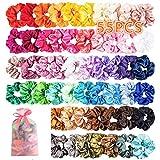55 stuks scrunchies satijn, elastische haarbanden, kleurrijke haarelastiekjes voor meisjes en dames, paardenstaart, haaraccessoires