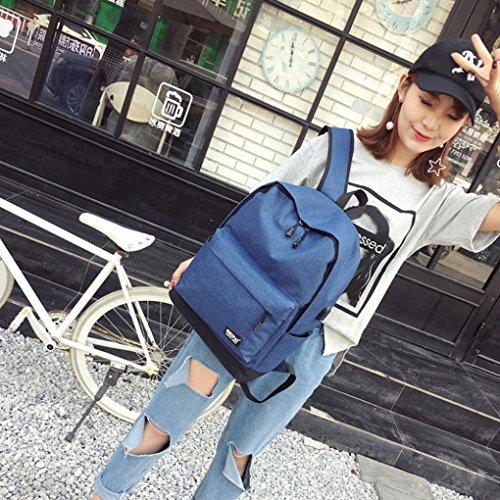 Unisex Canvas borsa a tracolla, donne adolescente ragazzo cerniera zaino unisex scuola borse moda tela spalla borsa by Kangrunmy® Blu