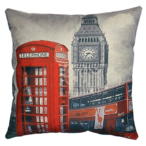 Luxbon Funda de Cojín Almohada Lino Duradero London Autobús Cabina Telefónica Big...