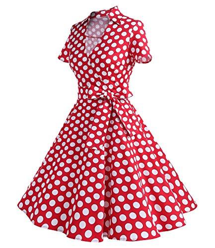 Timormode Rockabilly kleid 50s Polka Dot Weiß Cocktail Kleid Vintage Kleid  Kurze Ärmeln Rot Punkte