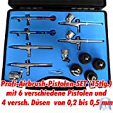 Agora-Tec® Airbrush Pistolen Set AT-AS-01 - 15 tlg. Airbrush-Pistolen-Set mit 6 Pistolen in 4 verschieden Düsengrößen -
