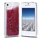 Funda iPhone 4, Carcasa iPhone 4S, RosyHeart Sparkle Brillar Líquido Lentejuelas Funda para iPhone 4/4S - Ultrafina Dura PC Transparent Anti-arañazos Protectiva Caso - Rojo perla
