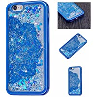 iPhone SE, 5S, 5 Case , Fashion Young Style SUPREDE iPhone SE, 5S, 5 Case Cover, Non Slip Lovely Glitter Dynamic Flowing Liquid Quicksand Soft Edge Case with Floating Bling Love Heart Inside for iPhone SE, 5S, 5 (Blue)