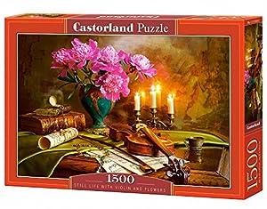 Castorland Still Life with Violin and Flowers 1500 pcs Puzzle - Rompecabezas (Puzzle Rompecabezas, Arte, Niños y Adultos, Niño/niña, 9 año(s), Interior)