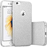 HQ-CLOUD housse étui Coque gel en silicone Paillette Bling Bling pour Apple iPhone 6 /6S argenté brillant