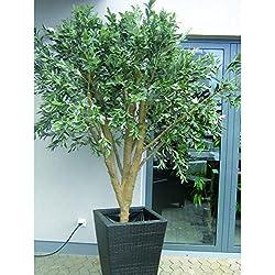 Deko Mammut-Olivenbaum mit 8960 Blättern und Oliven, 250 cm - Künstlicher Olivenbaum / Kunstbaum - artplants