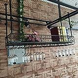 Porte-verre à vin Casier à vin suspendu Cadre gobelet à l'envers Armoire à vin Suspension Etagère de rangement pour plusieurs bouteilles Cave à vin Comptoir de bar (Color : Black, Size : 150 * 25cm)