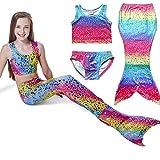 Little Mädchen Badeanzug Meerjungfrau-Schwanz 3tlg. Bademode Bikini Set Kleinkind Bade Kostüm