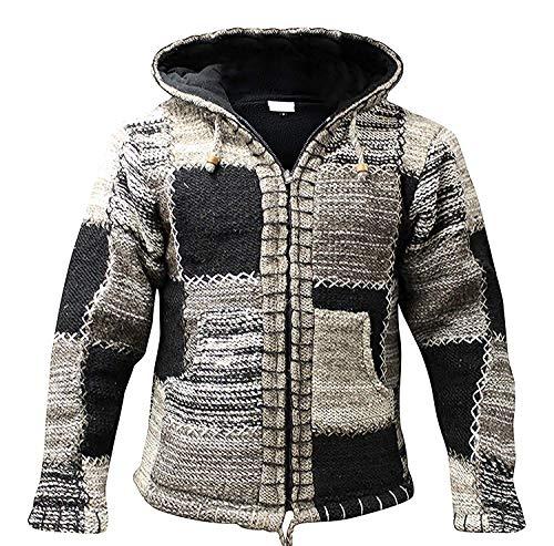 Fashion Shopoholic chaqueta para hombre Negro de lana capucha gris Hippie