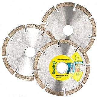 NOVOTOOLS 3 pzs x 115 mm Segmentados Discos De Corte De Diamante. Cuchillas De Amoladora Angular De Diamante Para Piedra, Ladrillo, Dinteles, Hormigón. Alta Calidad