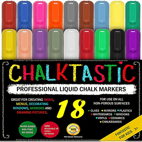 Colorful Art Kreide Marker Mega 18 Stück, Best for Kids Kunst, Menu Board Bistro Boards – Glas & Fenster Paint Marker Stifte, wendbar, 6 mm feine oder Keilspitze – Neon farbigen INC Gold & Silber