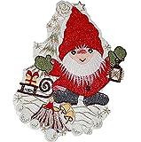 Fensterbild Plauener Spitze Deko Weihnachten Stickerei Wichtel 23x31 cm + Saugnapf