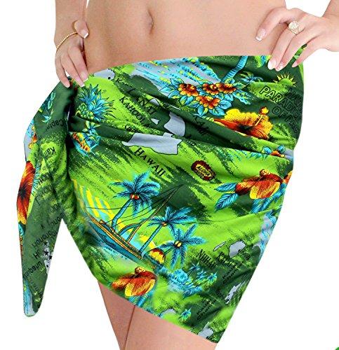 La Leela super weich likre Hawaii Paradies Frauenklage Bikini 3 in 1 Rock sundress vertuschen Badebekleidung wickeln mini Sarong 183x53 cm Baden Grün
