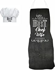 YaYa cafe Birthday Gifts for Wife, Best Chef Wife Funny Kitchen Chef Apron for Women with Chef Hat, Birthday Anniversary Gifts