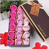 VanseRun Salle De Bain Fleurs Savon parfumée Fleur Bain Corps Savon Pétales De Rose en boîte-cadeau,18 Pièces (Rose)