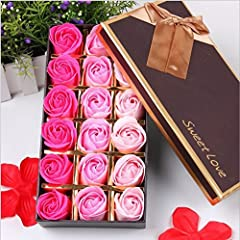 Idea Regalo - VanseRun 18 Pezzi profumato per il bagno petali rosa, Creativo regalo Fiore del sapone artificiali Rose fiori di sapone per la festa di compleanno San Valentino (Rosa)