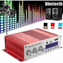 Amplificatore stereo Mini Bluetooth,ELEGIANT 12V Hi-Fi Mini Bluetooth Auto MP3 Amplificatore audio stereo AMP Scooter Booster Radio MP3 Amplificatore MP3 per Auto Motor CD DVD Rosso