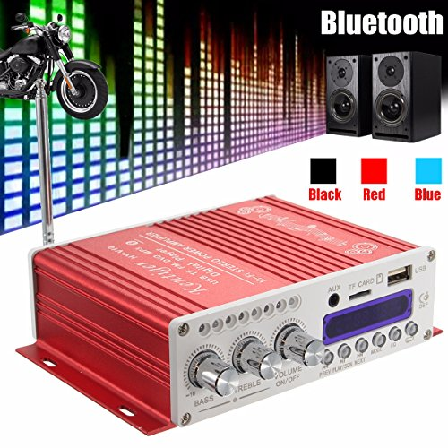 Amplificatore stereo Mini Bluetooth,ELEGIANT 12V Hi-Fi Mini Bluetooth Auto MP3 Amplificatore audio stereo AMP Scooter Booster Radio MP3 Amplificatore MP3 per Auto Motor CD DVD Rosso