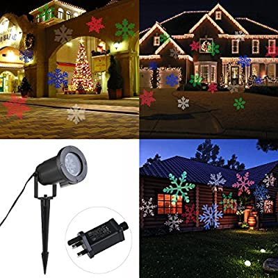 LEORX Christmas Projector Colorful Moving Snowflakes LED Landscape Projector Lights by LEORX