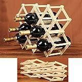 New 10 Bottles Wine Rack Wooden Folding Free Standing Bottle Bar Wood Stand