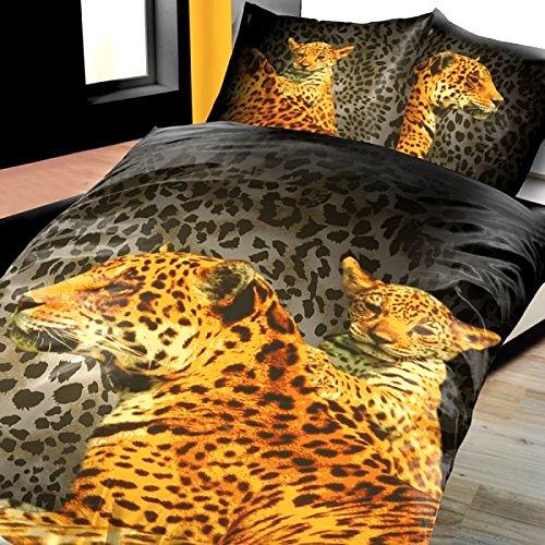 4-Teilig Microfaser Bettwäsche Set Leopard mit Kind schwarz/gold Fotodruck mit Reißverschluss 2x 135x200 Bettbezug + 2x 80x80 Kissenbezug , Öko-Tex Standart 100 - Leopard 4