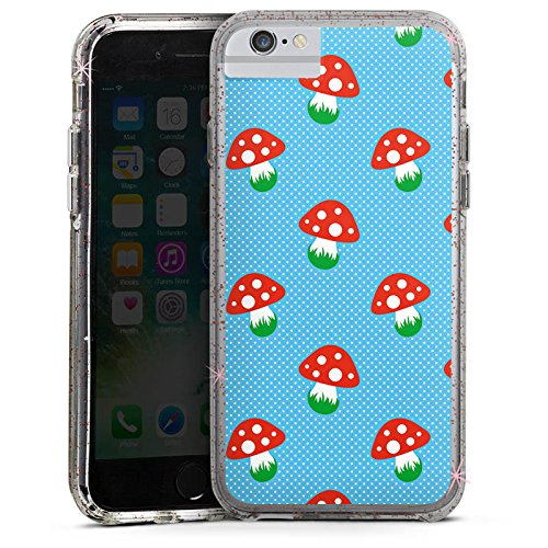 Apple iPhone 6 Plus Bumper Hülle Bumper Case Glitzer Hülle Pilz Fliegenpilz Oktoberfest Bumper Case Glitzer rose gold