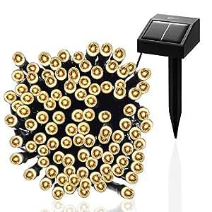 Esky® Luce Stringa LED per Esterni ad Energia Solare, 17m 100 Luci LED Solari per Giardini, Balconi, Natale, Feste, Matrimoni (Luce Calda)