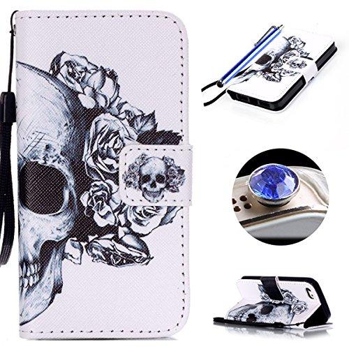 Etsue für Apple iPhone SE/iPhone 5S Blau Anker Streifen Leder Brieftasche Case Hülle Muster, Bunte Retro Painted Wallet Flip Case Cover Leder Case Tasche Bookstyle Lederhülle Magnetverschluß Standfunk Weiß schwarz Blumen Schädel